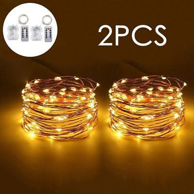 10m LED Fairy String Lights 3AA Battery Powered Remote Control Xmas Decor 2 Pack