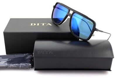 cb57d4daa75 RARE NEW Genuine DITA WESTBOUND Square Matte Black Blue Mirror Sunglasses  19015B