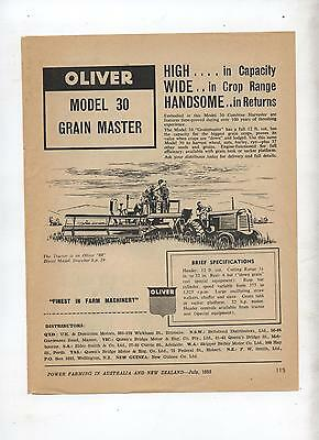 Oliver 30 Grain Master Harvester Header Advertisement from 1952 Farming Magazine