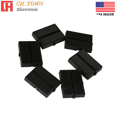 6pcs Black Mini Breadboard SYB-170 170Tie-points Solderless Prototype Board USA
