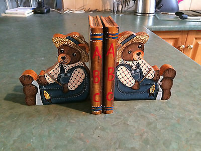 Wooden Teddy Bear Book Ends