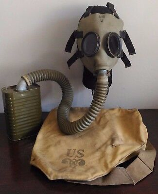 US WWII Army M1A2 Gas Mask Set w/ Hose, Filter & Carrier Bag - VTG Military MIA2