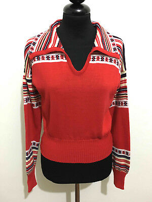 CULT VINTAGE '70 Maglione Donna Sci Lana Acrilic Wool Woman Sweater Sz.S - 42