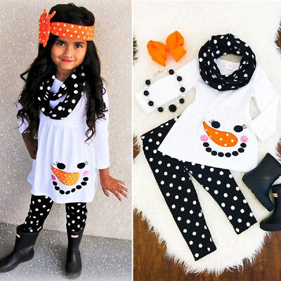 US Stock Toddler Kids Girls Snowman Tops Dress Dot Pants Outfits Set Clothes