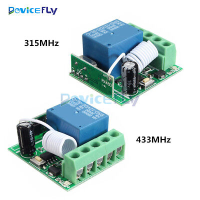 1 Channel Receiver Wireless Relay RF Remote Control Switch DC 12V 315/433MHz 10A