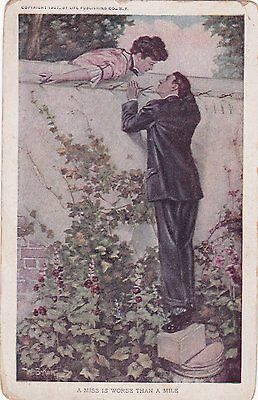 """Humour Postcard """"A miss is worse than a mile"""" posted in 1911."""