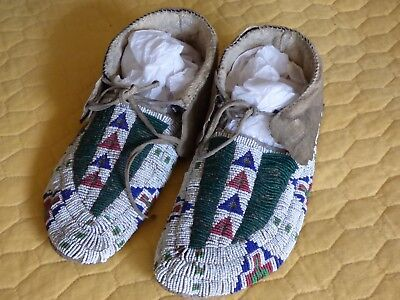 Old Native American Plains Indian Fully Beaded Moccasins, Parfleche Soles