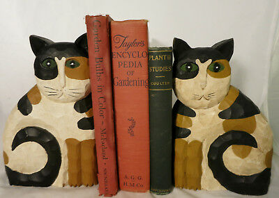 """Hand Carved Calico Cat Bookends / Doorstop Shelf Sitter by James Haddon 8.5"""""""