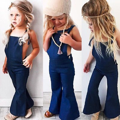 FWJ-US Stock Toddler Kids Girls Denim Bib Pants Romper Jumpsuit Outfit Clothes