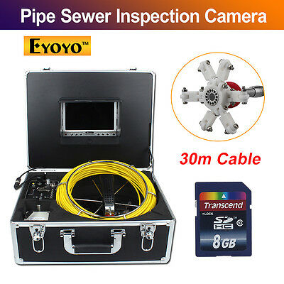 "30M 98FT Sewer Waterproof Video Camera 7"" LCD Drain Pipe Line Inspection DVR LCD"