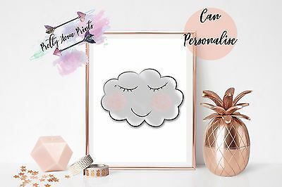 Cute Cloud Print Nursery Kid Child Decoration Poster Picture Gift Personalise