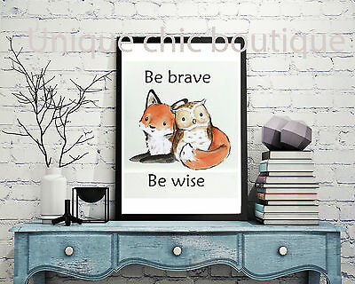 Nursery fox and owl deluxe print A4 Gift nursery woodland poster wall art