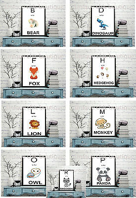 Nursery wall prints baby animals picture alphabet woodland A4 letters