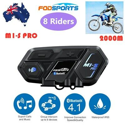 2000m M1-S BT Interphone Motorcycle Bluetooth Helmet Headset Intercome 8 riders