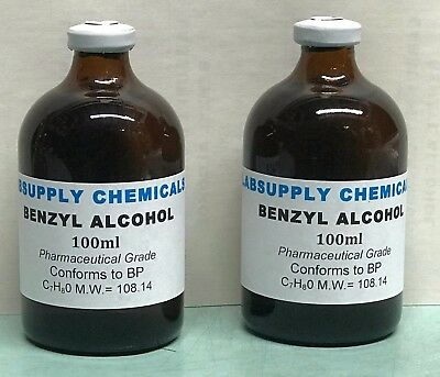 BENZYL ALCOHOL 200ml 99.8% Pharmaceutical Grade - Conforms to BP Crystal clear