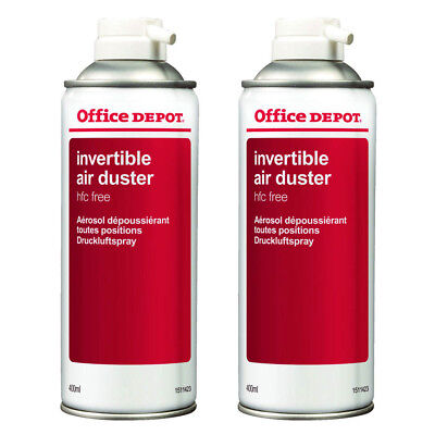 2 x Office Depot Compressed Air Duster Can Laptop Keyboard Cleaner Spray 400ml