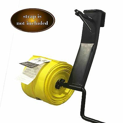 Cargo TieDown Strap Winder, Powder Coated Black. Flatbed Trailer Winch Strap For