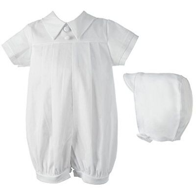 Lauren Madison baby boy Infant Christening Baptism Polished Short Romper  Whi...