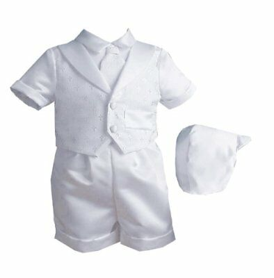 Lauren Madison baby boy Christening Baptism Infant Vestie Set With Short Whit...