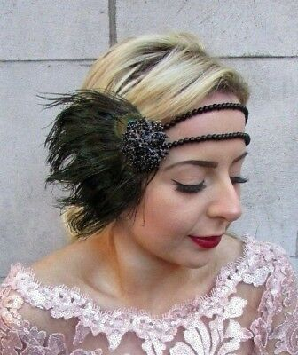 Black Green Peacock Feather Headpiece 1920s Headband Flapper Fascinator Vtg 4766
