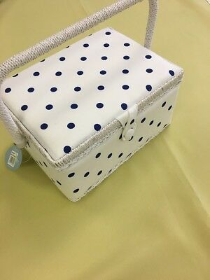 Hobby Gift  White With Blue Polka Dot  Medium Sewing Basket