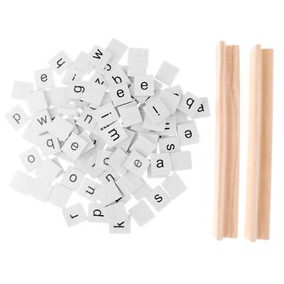 100 Wooden White Alphablet Tiles Mixed Lowercase Letters for Board Crafts