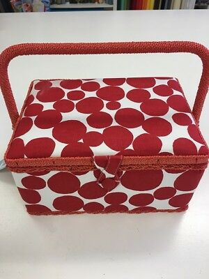 Hobby Gift  Red Spots  Medium Sewing Basket