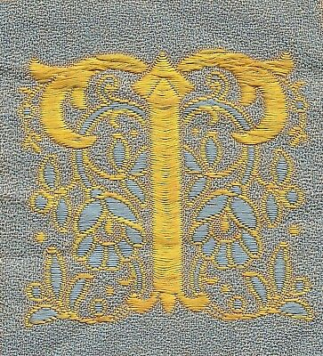 "Vintage/antq woven silk embroidered - Letter ""T"" - use in crazy quilt applique"