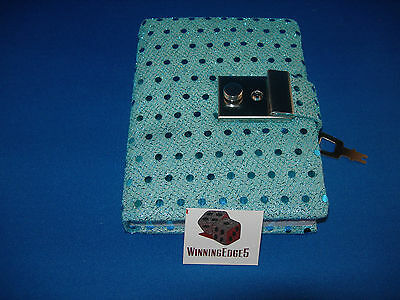 New Aqua Blue Sequin Diary With A Built In Lock And 1 Key Free Shipping