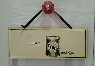 MIND YOUR PEAS AND Q'S Yellow Vintage look Wooden NURSERY SIGN Unisex boys girls