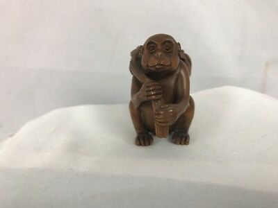 Wood  Netsuke ~ Monkey with Peaches ~ Signed by Artist