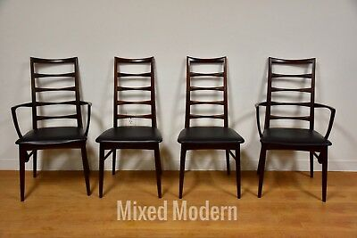 "Rosewood Koefoeds Hornslet ""Lis"" Danish Dining Chairs - Set of 4 Mid Century"
