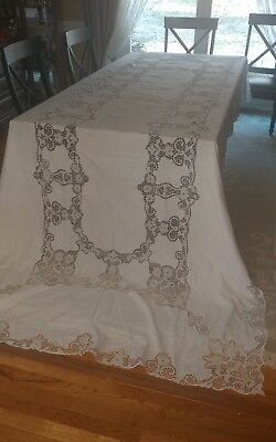 "Vintage italian linen Point de Venise lace tablecloth 146""×68"" white"