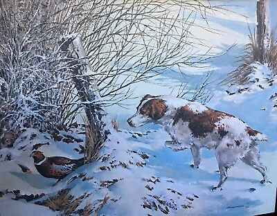 Classic Art Brittney Spaniel Pheasant Hunt Painting Reproduction 1977. 16x20.