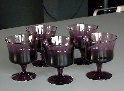 70s. Denby Crystal Arabesque Set of 5 Amethyst Sherbet Cup Champagne Glass