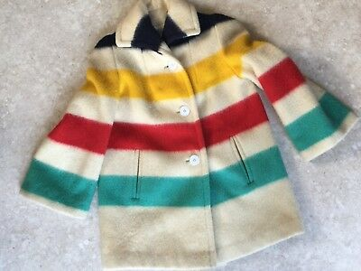 Vintage 1960's HUDSON'S BAY Womans Wool Coat With Attachable Hood Medium