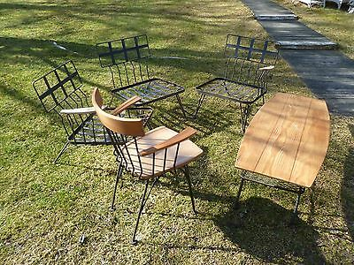 Mid Century Russell Woodard  Wrought Iron wood patio Set chairs table (marked)