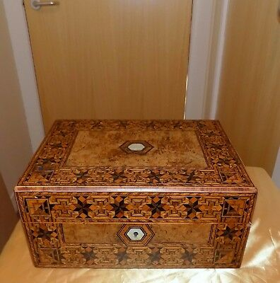 Antique Large Tunbridge Ware Marquetry Mother of Pearl Inlaid Sewing Work Box