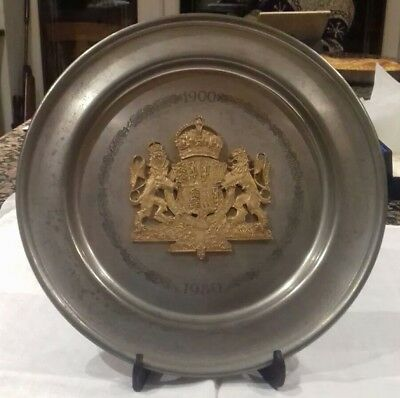Queen Mother Pewter Plate - Marking 80th Birthday - Limited Edition