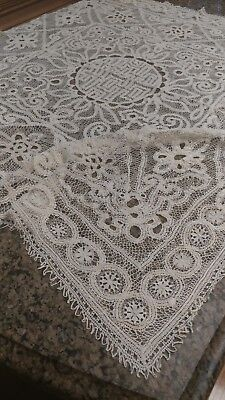 "Antique Italian lace small tablecloth 31""×31"" hand made"