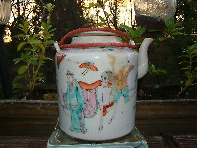 Antique Chinese Porcelain Famille Rose Teapot with Handle     --  Estate Find