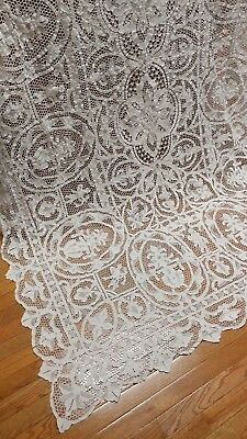 "Antique Italian figural Point de Venise lace tablecloth 98""×60"" white"