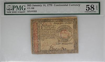 Jan 14, 1779 $65 Continental Currency PMG 58 EPQ Strong Color - I-9994