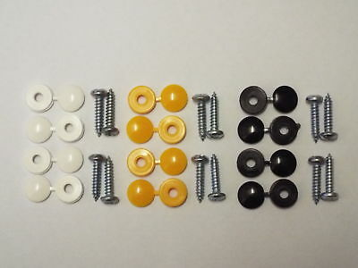12Pce CAR NUMBER PLATE FITTING KIT SCREWS & CAPS FIXING KIT YELLOW WHITE & BLACK