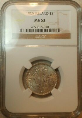 1939 Ireland 1S Shilling NGC MS 63 UNC Silver Coin