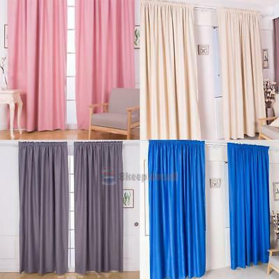 1xThermal Blackout Plain Window Curtains Lined Slot Top Drape Pleat Home Decor