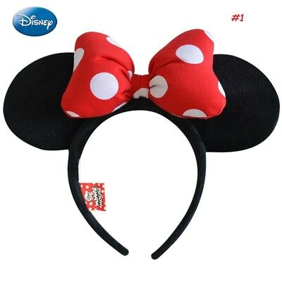 Minnie Mouse Ears Headband Black Sparkle Shimmer - Disney Red Sequin Bow Mickey