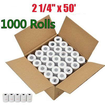 "1000 Roll Credit Card 2 1/4"" x 50' Thermal Paper Roll Nurit 8000 Ingenico ICT220"
