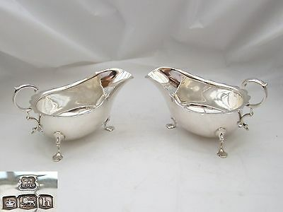 RARE PAIR of GEORGE V HM STERLING SILVER SAUCE BOATS 1925
