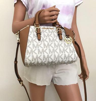 NWT Michael Kors Small Vanilla/Acorn Leather Ciara Satchel Crossbody Bag Purse